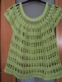 crochet green top ... horgolt zöld felső