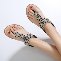 97ddcdda47a63 ( 17.50) BOHEMIA FLORAL RHINESTONE WOMEN SANDALS CLIP TOE FOR SUMMER Types  Of Shoes