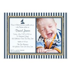 Baptism Invitations Nautical Stripe and Sailboat Baptism Card