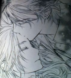 Vampire Knight. Kain kissing Ruka's head while she's passed out
