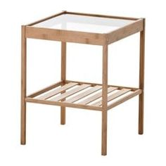 Ikea hack--spray paint metallic gold or color for guest room. IKEA - NESNA, Nightstand, , Bamboo is a durable natural material. Bedside Table Ikea, Ikea Side Table, Glass Side Tables, Small Nightstand, First Apartment, Home And Deco, My New Room, Bedroom Furniture, Ikea Bedroom