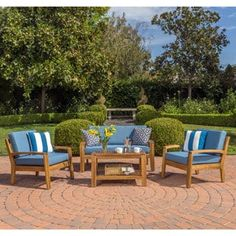 Shop for Grenada 4-Piece Outdoor Wood Chat Set w/ Cushions by Christopher Knight Home. Get free delivery at Overstock.com - Your Online Garden & Patio Shop! Get 5% in rewards with Club O! - 19890298
