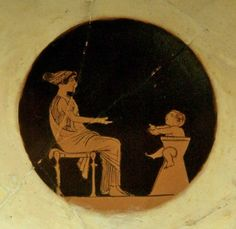Ancient Greek baby, sitting in a ceramic high potty chair and calling for his mother...