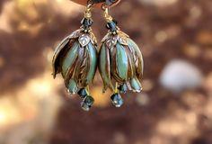 ON SALE Flower earrings, dangle, blue, green, crystal, Christmas, gift for her, weddings, bridesmaid., via Etsy.