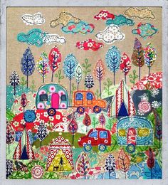 Now I am going to pull out my quilt design book and start designing a camping quilt. Appliqué fabric picture Going camping. By lucy Levenson. Applique Fabric, Applique Patterns, Embroidery Applique, Quilt Patterns, Applique Ideas, Raw Edge Applique, Freehand Machine Embroidery, Free Motion Embroidery, Fabric Art