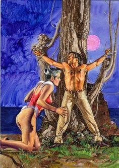 Emanuele Taglietti - Copertina per Ulula 35 'L'isola del terrore'. Cm 26 x 36,5. Tempera su cartoncino rigido. Anno di esecuzione 1984.