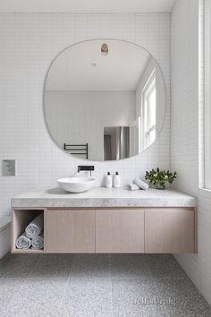 Awesome 20 Outstanding Bathroom Mirror Design Ideas For Any Bathroom Model Bathroom Mirror Design, Bathroom Interior, Master Bathroom, Bathroom Lighting, Tile Mirror, Bathroom Grey, Parisian Bathroom, Mirror Vanity, Vanity Design