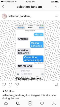 America (blue) texting Maxon (grey)