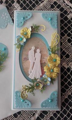 Esküvői jókívánságok kékben. Wedding card