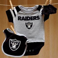 Raiders Baby Field Goal Onesie Bib Booties