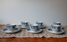 Royal Sphinx Balmoral P.Regout , Cups coffee set, Dutch porcelain cups and saucers, blue and white porcelain,Holland transferware, vintage. di lepropostedimari su Etsy