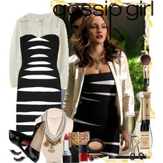 Blair Waldorf in a Zebra Style Herve Leger Dress by prettybaby on Polyvore featuring Hervé Léger, Christian Louboutin, ABS by Allen Schwartz, Anaconda, Christian Dior, Givenchy, Giorgio Armani, PINCEAU, Yves Saint Laurent and Sephora Collection