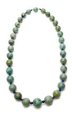 Shop Amazonite and Lapis Bead Necklace by Tara Compton Now Available on Moda Operandi #themothemerrier