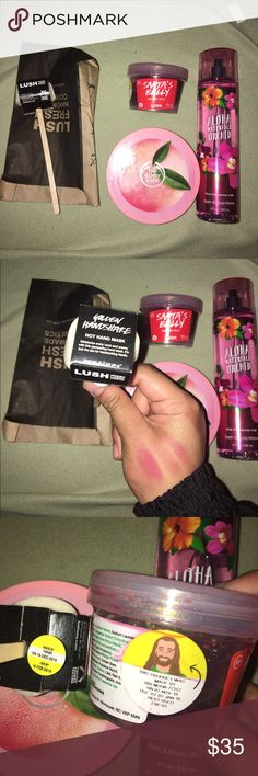 Lush and stuff bundle! Bundle includes one lush Santa's belly soap jelly, one lush golden handshake hand mask, one Body shop body butter (pink grapefruit scent) and one bath and body works spray (aloha waterfall orchid) Lush Other