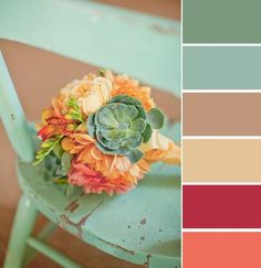succulent bouquet, green, orange, mint, and yellow - this color palette Colour Schemes, Color Combos, Colour Match, Vintage Color Schemes, Red Colour, Orange Color, Bouquet Succulent, Bouquet Flowers, Silk Flowers