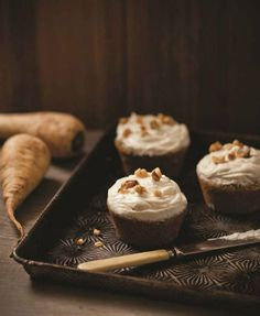 """Parsnip Spice Cupcakes With Maple Frosting , from """"Wintersweet"""" by Tammy Donroe Inman. Parsnips are a pale counterpart to carrots, subtle an..."""