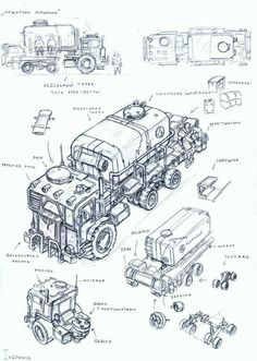 ::hard working rig for fuel:: vehicle 18 by TugoDoomER Character Design References, Character Art, Weapon Concept Art, Cool Sketches, Environment Concept Art, Dieselpunk, Cyberpunk, Fallout, Concept Cars