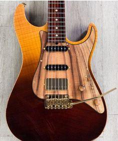 Suhr Standard Pro Custom HSS Electric Guitar, Cocobolo Neck, Chevron Flame Maple Top, Wooden Pickguard - Desert Gradient