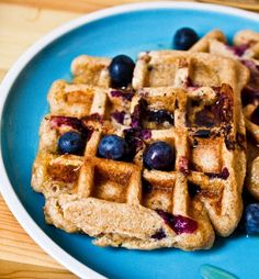 Vegan Citrus Berry Waffles by healthyhappylife: Made with whole wheat, blueberries, maple syrup, soy milk, sunflower seeds and satsumas. #Waffles #Vegan #healthyhappylife