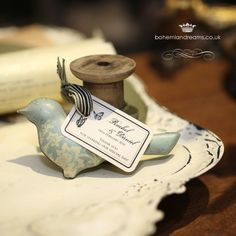vintage tin birds Wedding Invitations Online, Vintage Wedding Invitations, Wedding Favours, Chic Wedding, Wedding Details, Dream Wedding, Afternoon Tea Wedding, Tin, Favors