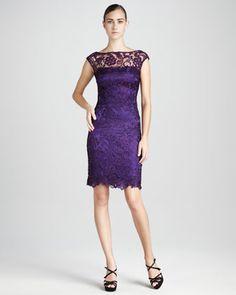 Bateau-Neck Lace Cocktail Dress by ML Monique Lhuillier at Neiman Marcus.
