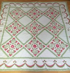 19TH CENTURY GREEN AND RED ROSE APPLIQUE QUILT MUSEUM QUALITY, eBay, cottage*inspirations