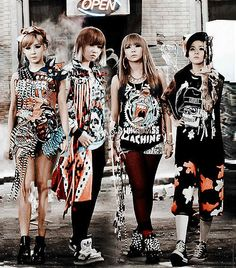 Ugly - 2NE1. Park Bom's dress is made from different shirt prints cut up and stitched back together, cool