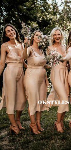 Sheath V-neck Sleeveless Belt Short Bridesmaid Dresses With Split, BD0638#bridesmaids #bridesmaiddress #bridesmaiddresses #dressesformaidofhonor #weddingparty #2020bridesmaiddresses
