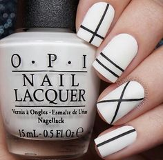 Nail art design. Colours: white and black