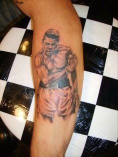 Black and grey boxing tattoo arm tattoo by Art at Highlands Finest Tattoos 916-331-8287