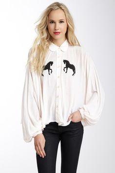 Wildfox Couture Pony Express Bonnie Button Down Shirt