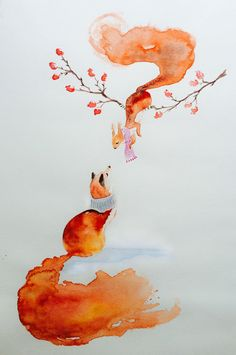 Fox and Squirrel – Watercolor