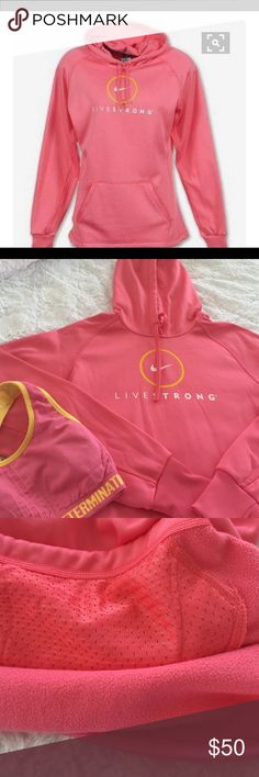 Nike Livestrong Sky Pink Hoodie/Sweatshirt A lightweight, heat-keeping designStay warm. The LIVESTRONG Scoop Womens Training Hoodie combines high-tech fabric with a lightweight design to make a warm layer primed for cold-weather conditions. Nike ThermaFit fabric to keep you warm, insulated hood & drawcord for warmth Raglan sleeves for extra range of motion & KangarooFit pocket for a warm snug fit , mesh lining for breathable storage cord & toggle at hem for adjustable fit to keep in heat…