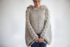 Plus Size Knitting Sweater Capalet with Hoodie - Over Size Tweed Beige Cable Knit by Afra on Etsy, £53.92