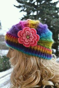 Knitted cap in flower cap / hat lovely warm autumn accessories women clothing Knit Hat Womens from DosiakStyle on Etsy. Knitting Projects, Crochet Projects, Knitting Patterns, Crochet Patterns, Free Knitting, Knitted Poppies, Knitted Flowers, Style Charleston, Knit Crochet