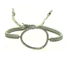 Tai Grey Cord Bracelet With Silver Oxidized Large Cz Oval