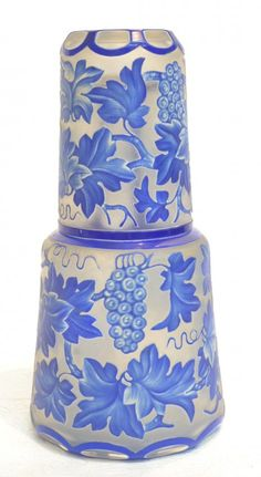 BLUE & FROSTED CAMEO GLASS TUMBLE UP DECANTER :