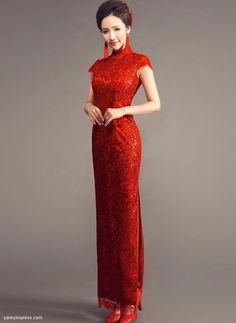 Chinese Wedding Gown Traditional Bridal Reception Cheongsam - YannyExpress - 1