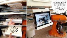 Under Cabinet Kitchen Tablet Recipe Holder Recipe Book Holders, Cookbook Holder, Ipad Holder, Tablet Holder, Diy Kitchen Projects, Home Projects, Kitchen Ideas, Kitchen Design, Tablet Recipe