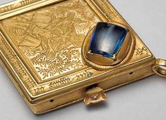 The Middleham Jewel was found in the grounds of the castle in 1985 by a man who was using a metal detector in the area. The Middleham Jewel is a mid-15th century gold pendant with a 10 ct. blue sapphire stone. One side of the diamond shaped pendant is engraved with a representation of the Trinity and the other with a Latin inscription indicating that the pendant is a charm against epilepsy.