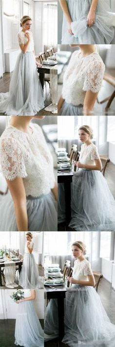 Cheap Custom Lace and Tulle Two Pieces Prom Dresses, Wedding dresses, Pretty Dress, PD0465