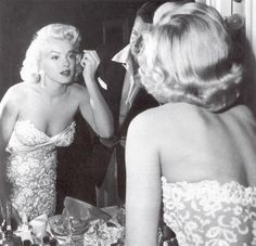 """Marilyn Monroe getting ready for the How to Marry a Millionaire premire! Allan """"Whitey"""" Snyder helped with her makeup"""