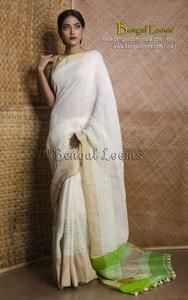 100 Thread Count Linen Saree in White and Green