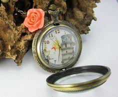 Collares Mujer Reloj de Bolsillo Estilo Vintaje Oro Antiguo Envejecido Clasico Torre de Pisa Italia Decorado