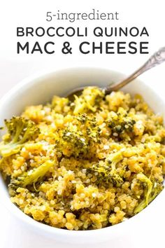 35 Quinoa Recipes To Make Healthy Meals Exciting - Food - Quinoa Recipes – Broccoli + Quinoa Mac and Cheese – Easy Salads, Side Dishes and Healthy Recipe Ideas Made With Quinoa – Vegetable and Grain To Serve For Lunch, Dinner and Snack Quinoa Recipes Easy, Whole Food Recipes, Vegetarian Recipes, Cooking Recipes, Quinoa Dinner Recipes, Meals With Quinoa, Chicken Quinoa Recipes, Broccoli Recipes, Couscous
