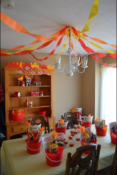 Fireman party decorations.