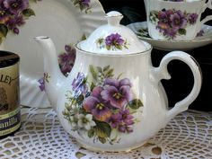 Victorian Tea Pots And Cups | Heirloom English Pansy Bone China Teapot, 6 cup