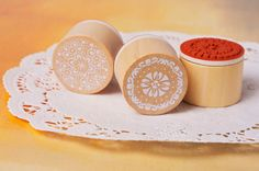 I rubber stamp circle lace design stamp for card door TodoPapel