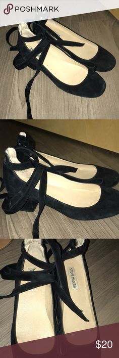 Size 9 Black Suede Wrap Heel Suede wrap heel! Super comfortable and cute. size 9. Easy to dress up or down! Lightly worn. Accepting offers! Steve Madden Shoes Heels