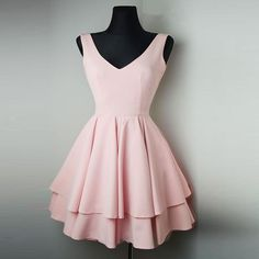 Blush Pink Short Dresses 2018 V Neck Homecoming Gown Girls  8th Grade Junior Prom Dress